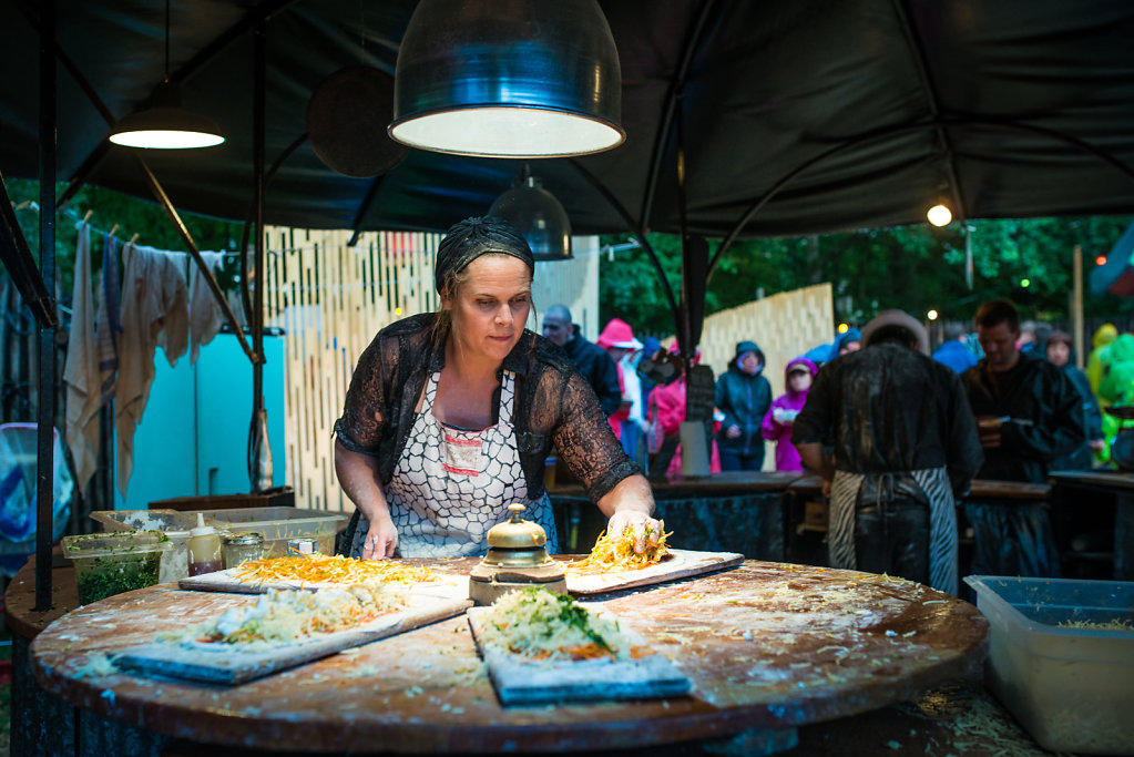 """Day 7:  Cooking at """"La Ruche""""  (an area dedicated to street performance)"""