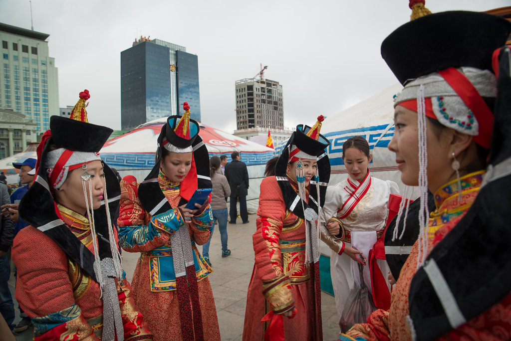 Folk artists at an outdoor event on Sukhbaatar square.