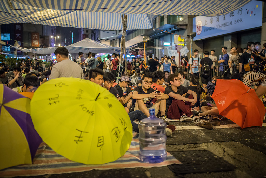 Protesters doing a sit-in in the middle of the night
