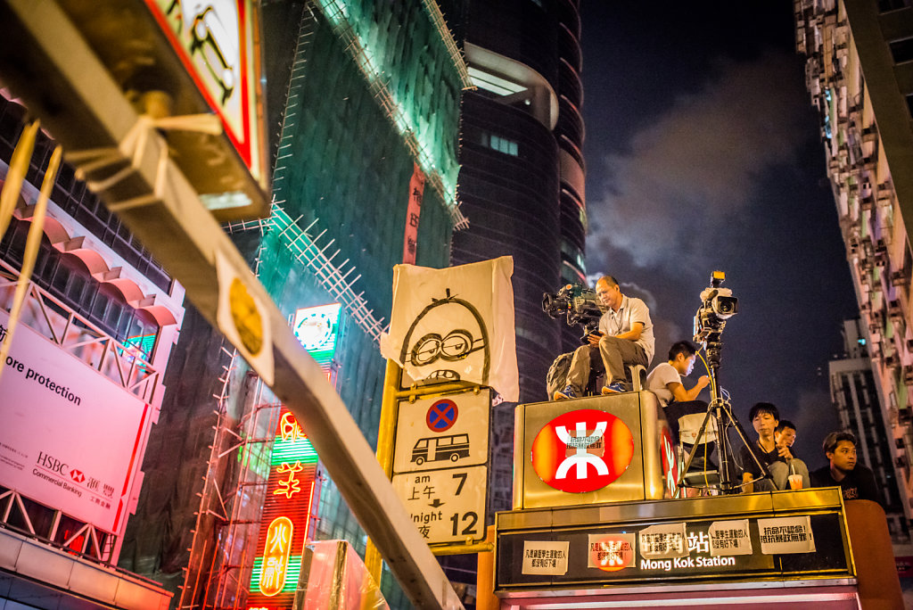 Camera crews waiting on top of the Mong Kok Station